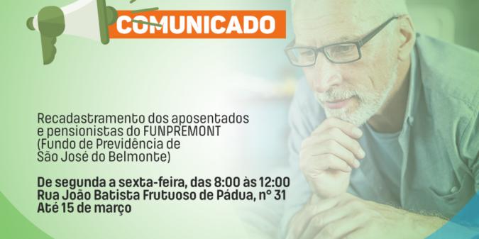 Recadastramento dos aposentados e pensionistas de São José do Belmonte