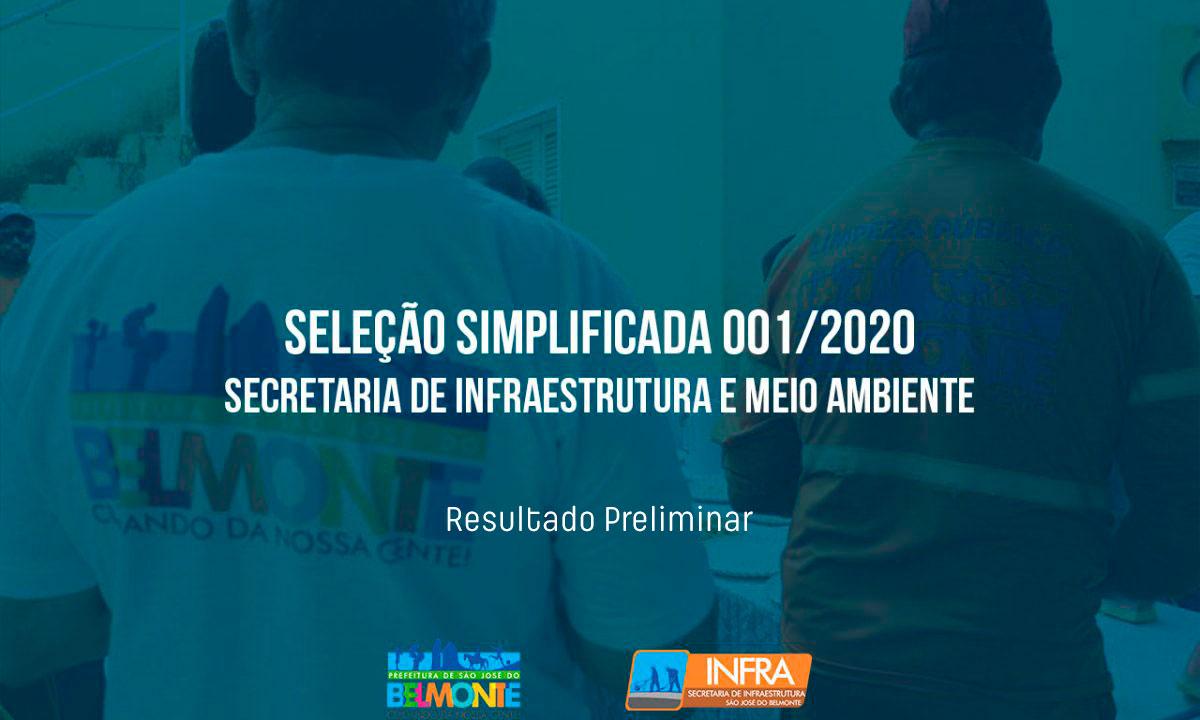 Resultado preliminar da Seleção Simplificada da Secretaria de Infraestrutura e Meio Ambiente