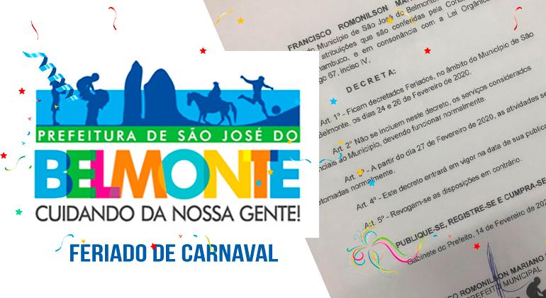 Romonilson decreta feriado no período de carnaval