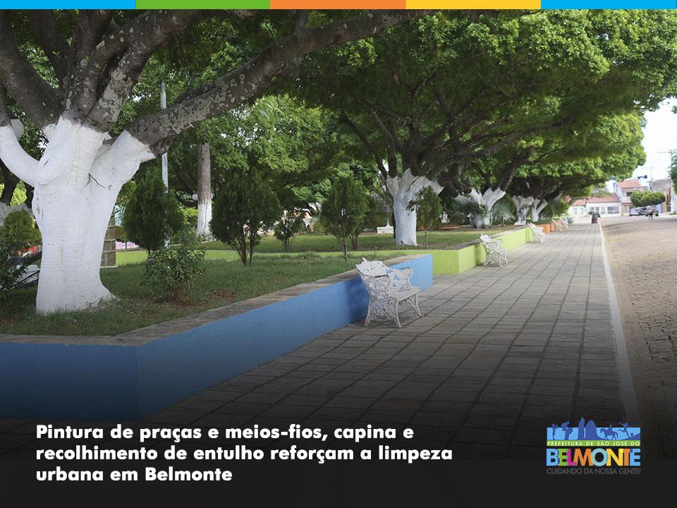 Pintura de praças e meios-fios, capina e recolhimento de entulho reforçam a limpeza urbana em Belmonte